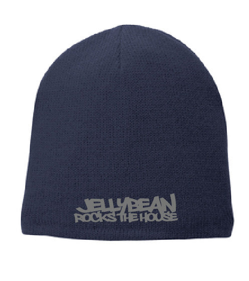 Dual Sided Jellybean Rocks The House / Jellybean Soul Navy Blue Beanie with Silver Embroidery