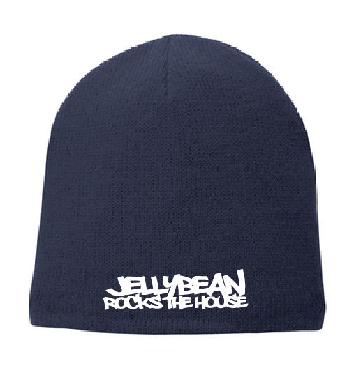 Dual Sided Jellybean Rocks The House / Jellybean Soul Navy Blue Beanie with White Embrodery