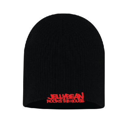 Jellybean Rocks The House Black Beanie with Red Embroidery