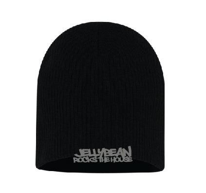 Jellybean Rocks The House Black Beanie with Silver Embroidery