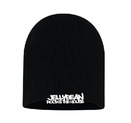 Jellybean Rocks The House Black Beanie with White Embroidery