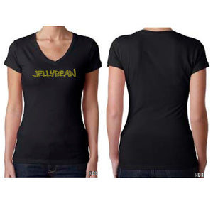 Jellybean Fitted Black V Neck Bedazzled GOLD T Shirt