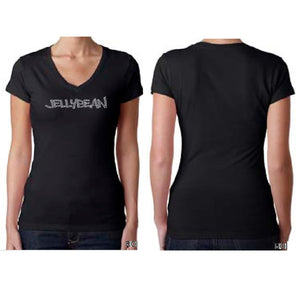 Jellybean Fitted Black V Neck Bedazzled SILVER T Shirt