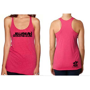Jellybean Rocks The House Pink Racer Tank Top