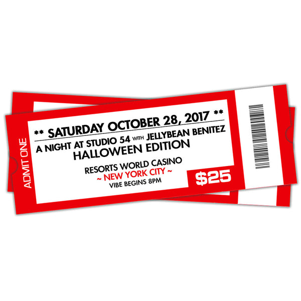 10/28 A Night At Studio 54 with Jellybean Benitez at Resorts World Casino NYC ~ The Halloween Edition ~ Early Bird General Admission