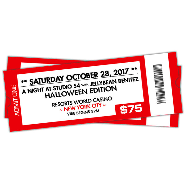 10/28 A Night At Studio 54 with Jellybean Benitez at Resorts World Casino NYC ~ The Halloween Edition ~ Early Bird VIP
