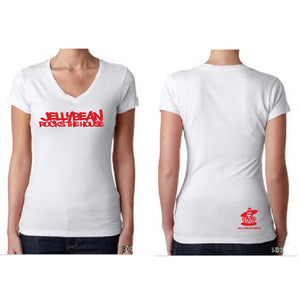 Jellybean Rocks The House White Fitted V Neck T Shirt