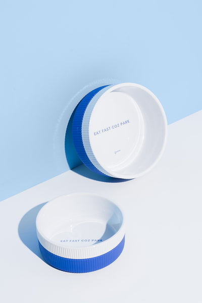 Gummi White Ceramic Bowl with Blue Removable Sleeve