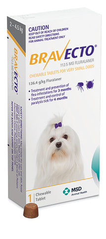 Bravecto Tick & Flea - Dogs 2 to 4.5kg