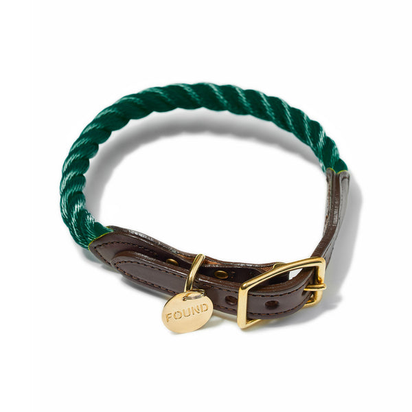New! FoundMyAnimal Brooklyn NY Rope/Leather Collar Hunter Green