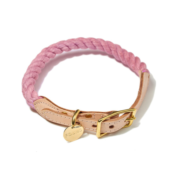 FoundMyAnimal New York Cotton Rope/Leather Collar Blush