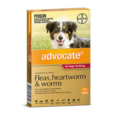 Advocate Fleas, Heartworm & Worms  -  Dogs 10-25kg  -  3 pack