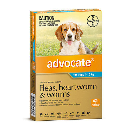 Advocate Fleas, Heartworm & Worms  -  Dogs 4-10kg  -  3 pack