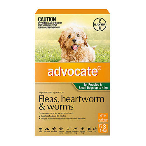 Advocate Fleas, Heartworm & Worms  -  Dogs up to 4kg  -  3 pack