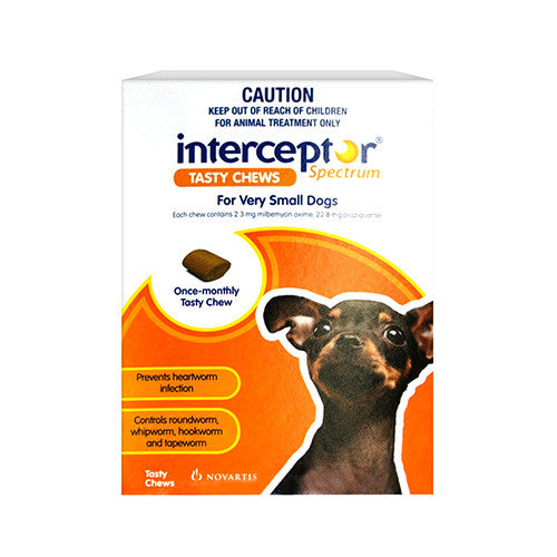 Interceptor Heart Worm & Worms  -  Dogs up to 4kg  -  3 pack