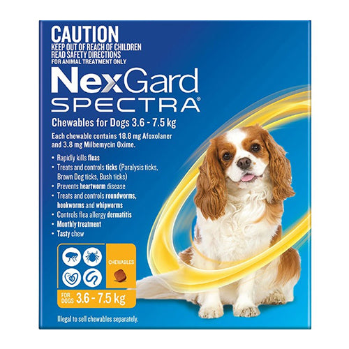 NexGard Spectra - Dogs 3.6-7.5kg - Tick, Flea, Heartworm, Gut Worms - 3 pack