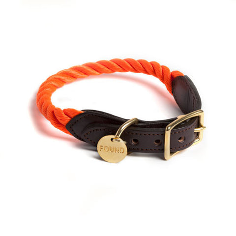 FoundMyAnimal New York Rope/Leather Collar Orange