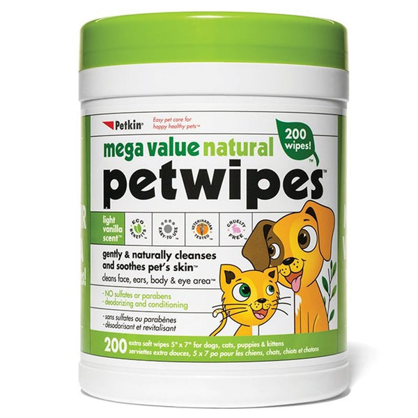 Natural Pet Wipes - 200 Wipes Megapack