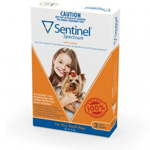 Sentinel Fleas, Heartworm & Worms  -  Dogs up to 4kg  -  3 pack