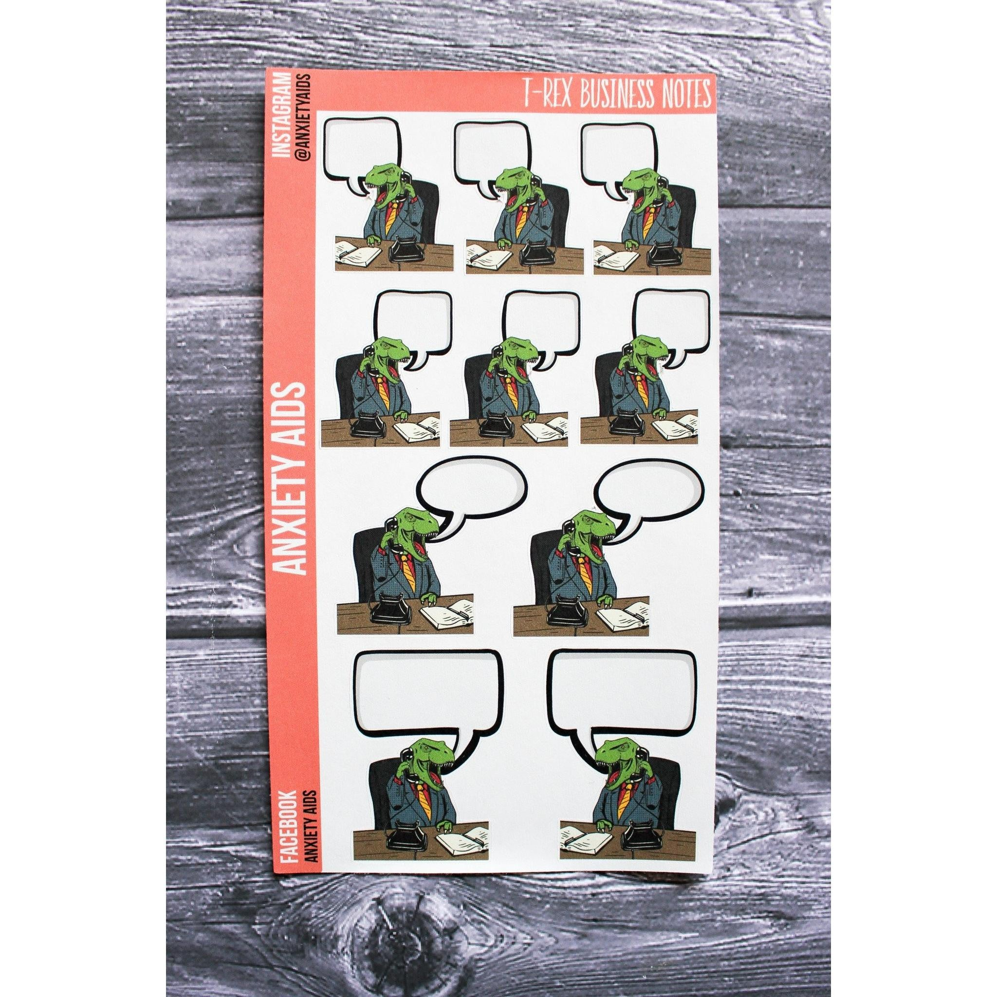 Business T Rex Note Convo Stickers