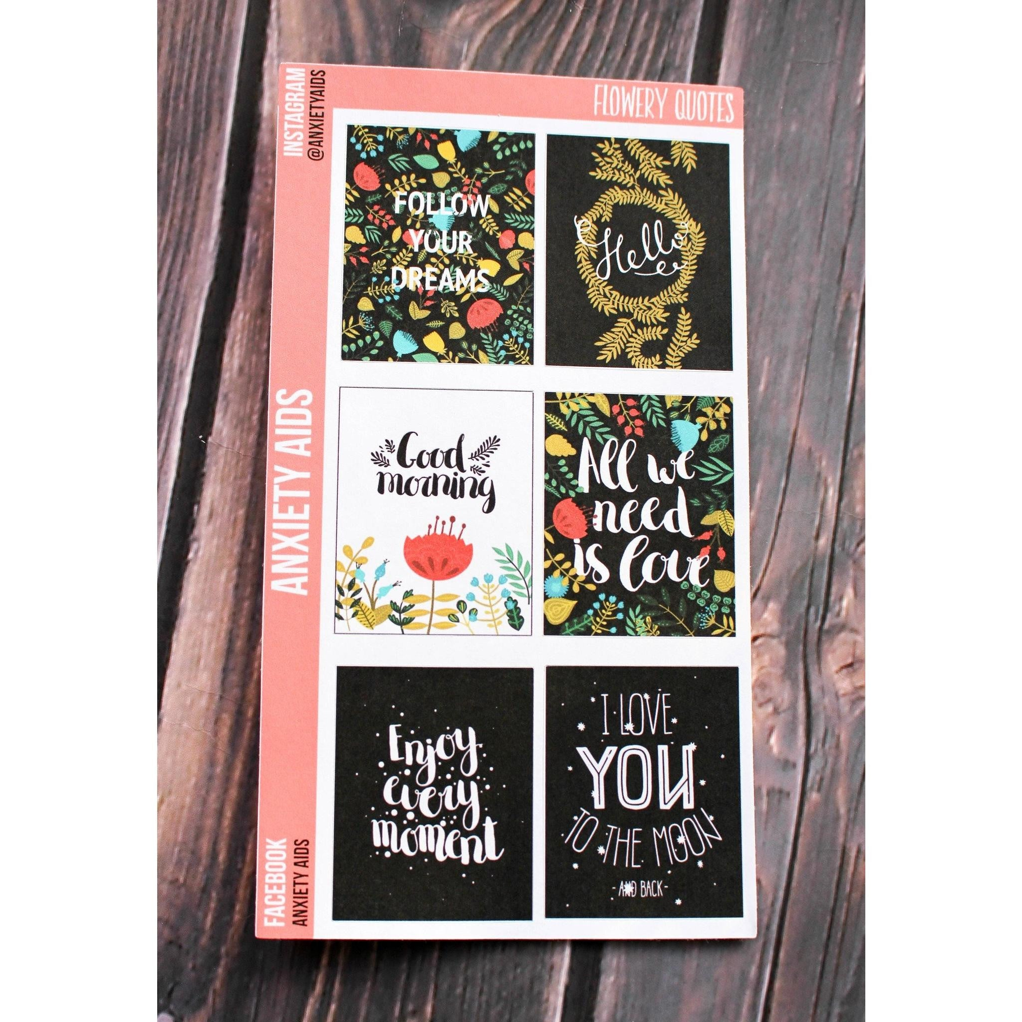 Flowery Quotes Full Box Stickers