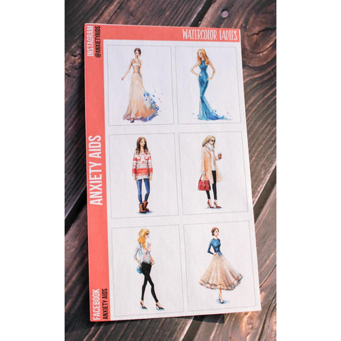 Watercolour Ladies Full Box Stickers