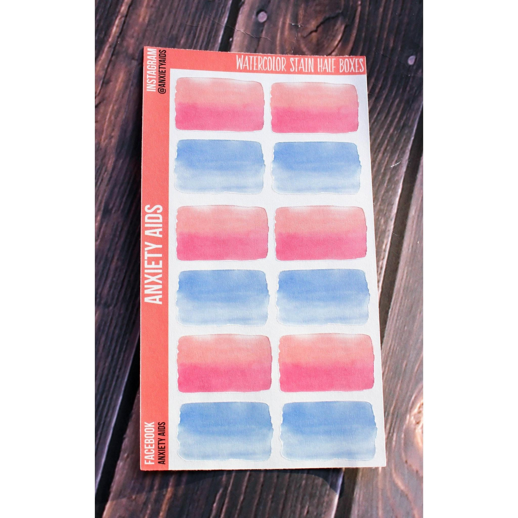 Watercolor Stain Half Box Stickers