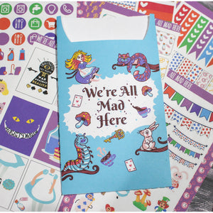 We're All Mad Here Sticker Set with Pocket