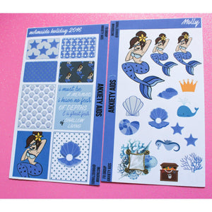 6 Mini Mermaid Decorating Kit Bundle - 12 sheets of Stickers