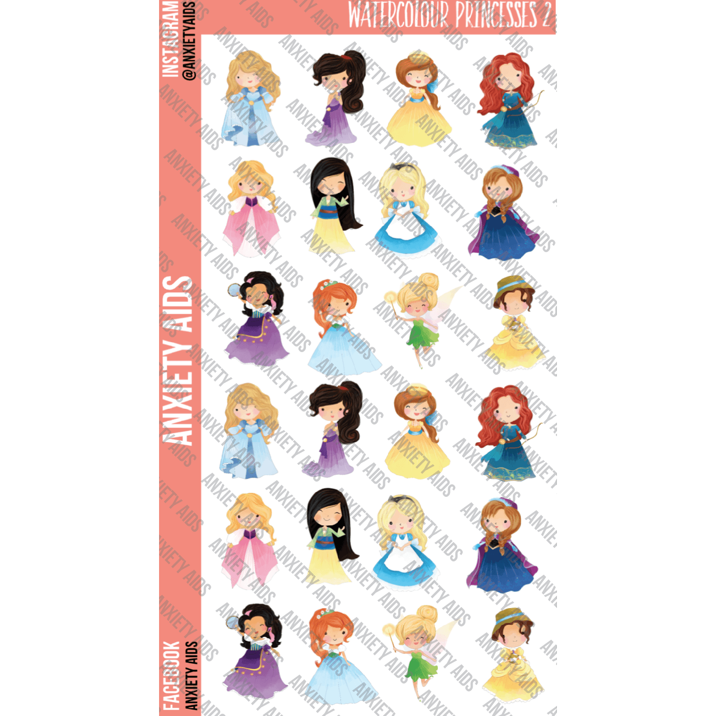 Watercolor Princesses 2 Stickers