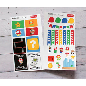 WEEK-21 It's a Me plumbers videogame Weekly Decorating Kit planner stickers - Anxiety Aids