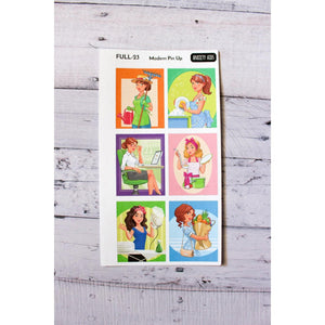 FULL-23 modern Pin up girl full boxes Planner Stickers - Anxiety Aids