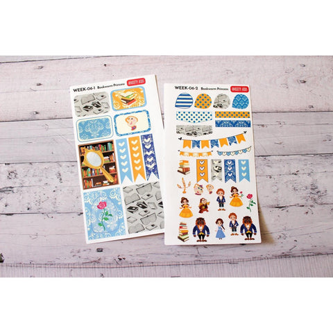 WEEK-06 Beautiful Bookworm and the Misguided but Well Intentioned Manbeast Planner Stickers Weekly Decorating Kit - Anxiety Aids