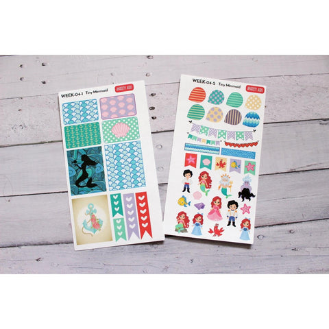 WEEK-04 Tiny Mermaid Weekly Planner Decorating Kit  Anxiety Aids Anxiety Aids