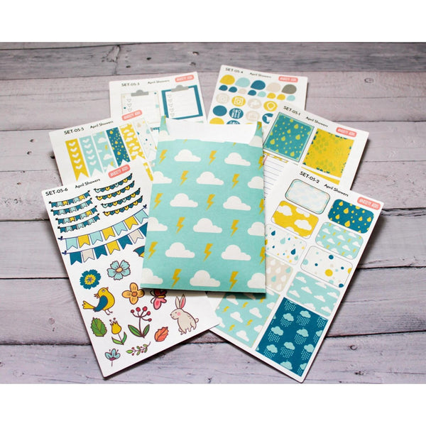 SET-05 April Showers planner sticker decorating kit with sticker pocket - Anxiety Aids - 3
