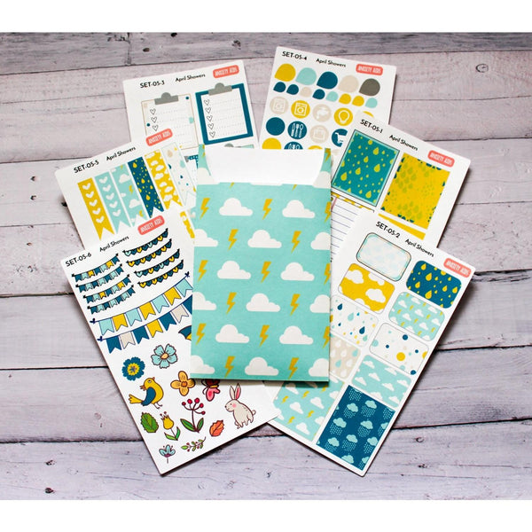 SET-05 April Showers planner sticker decorating kit with sticker pocket - Anxiety Aids - 1