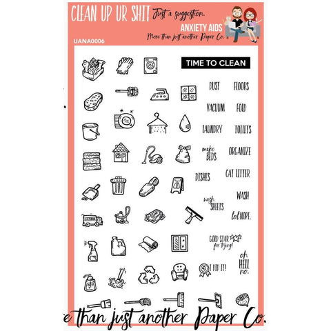Clean Up your Life 4x6 Planner Stamp Set  Anxiety Aids Anxiety Aids