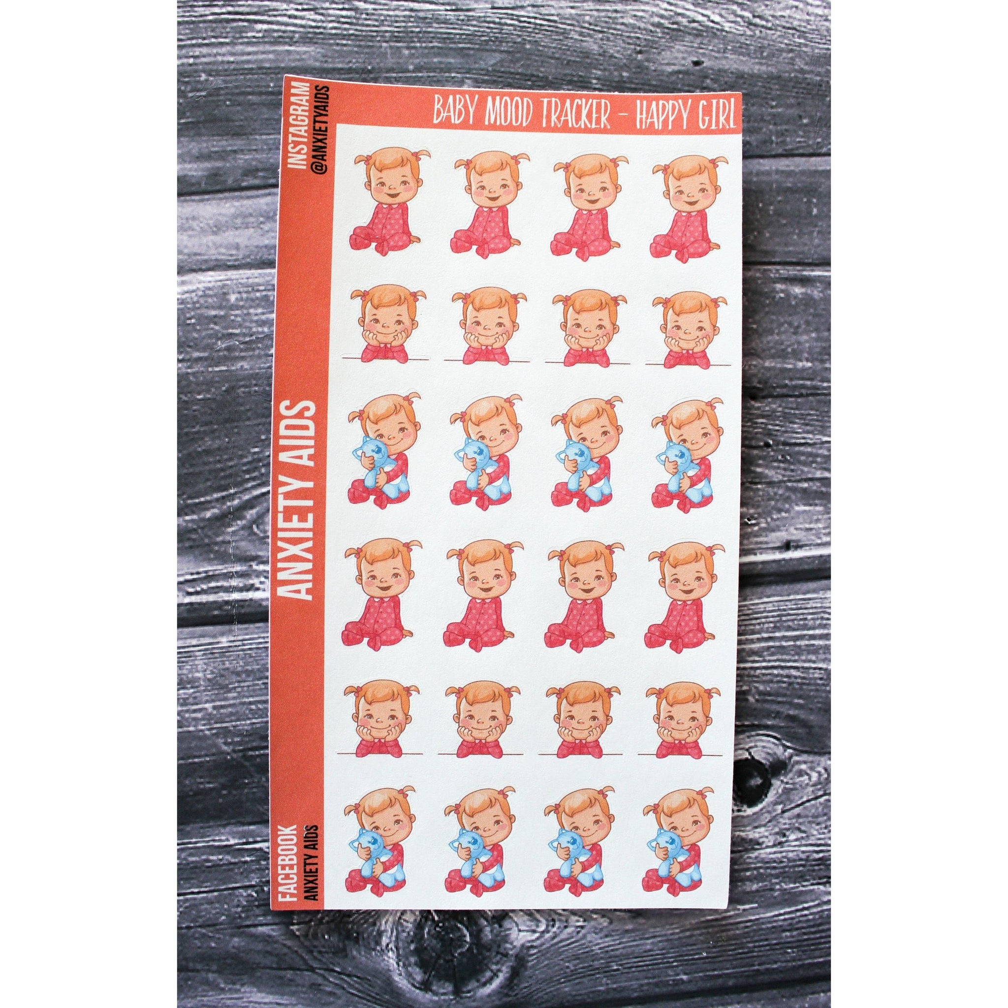 Happy Girl Baby Mood Tracker Planner Stickers