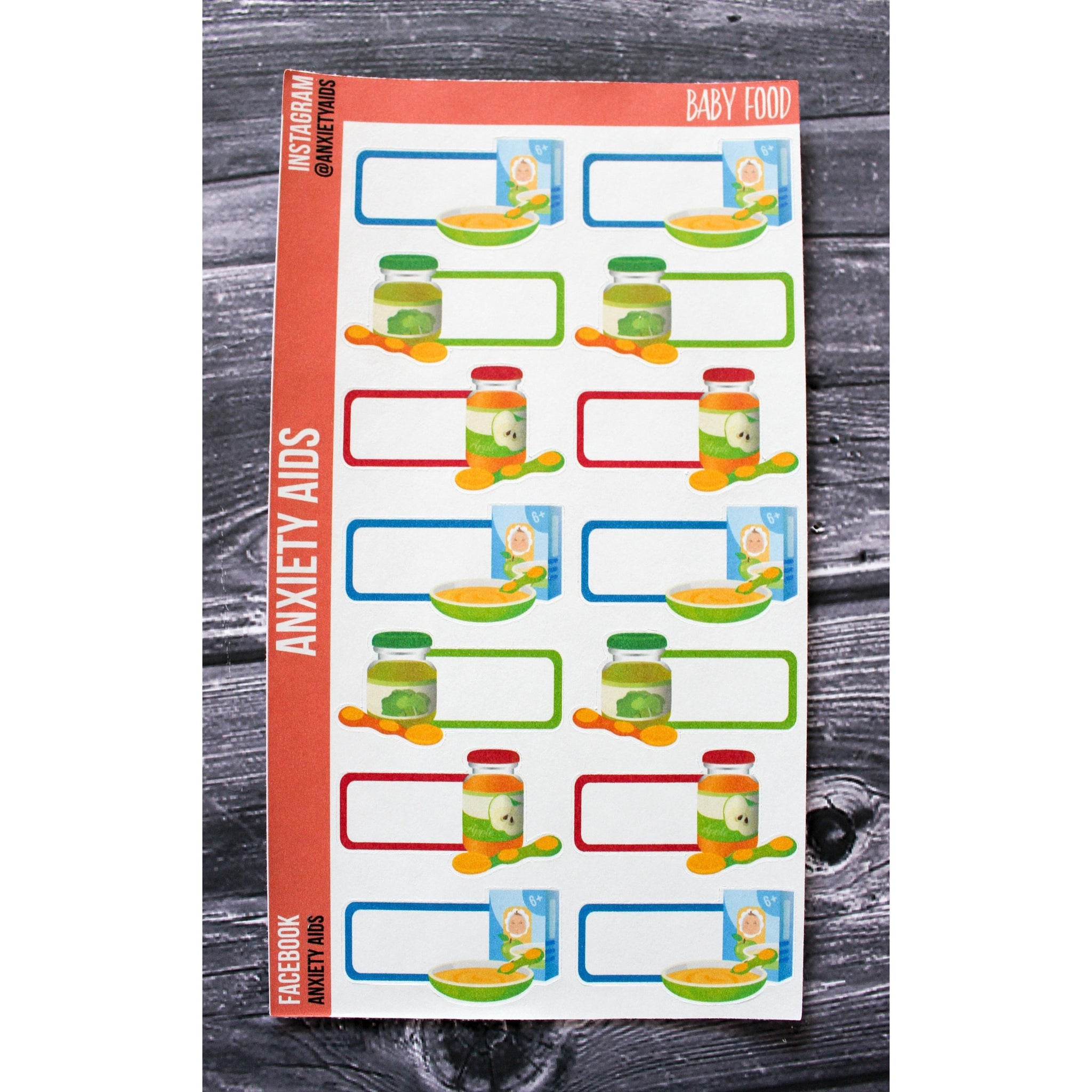 Baby Food Tracker Planner Stickers