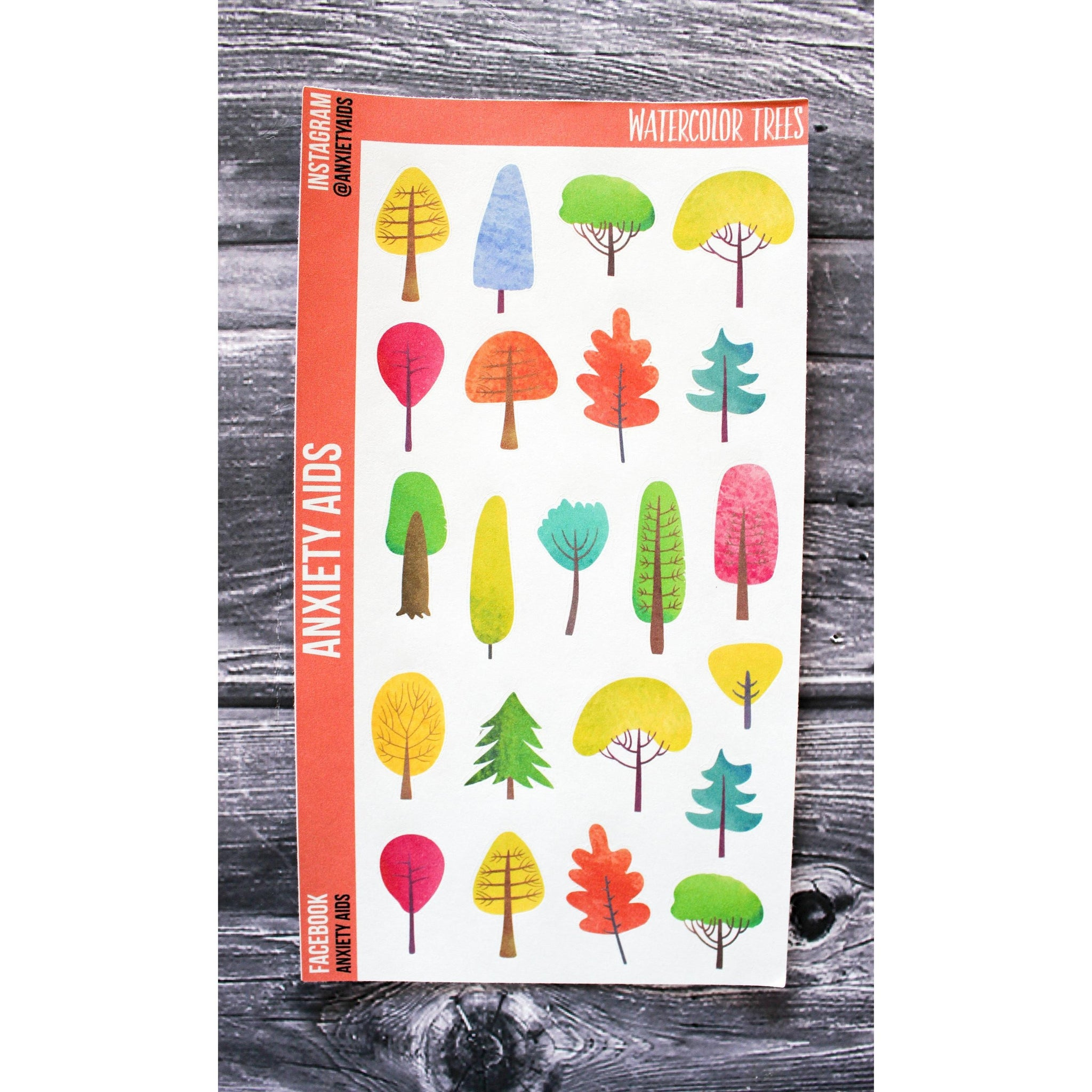 Watercolor Trees Planner Stickers