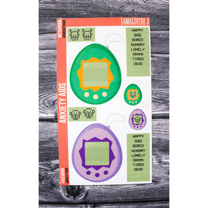 Tamagotchi 3 Green and Purple Fun Planner Stickers