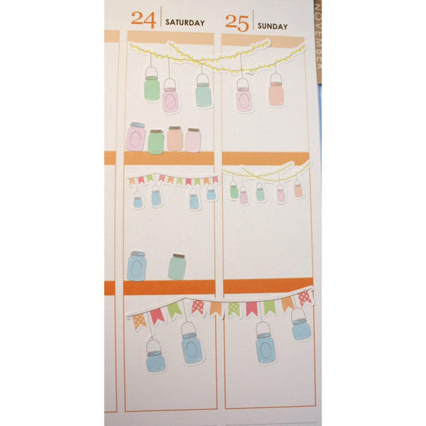DECO-15 Mason Jar Bunting Banner planner stickers  Anxiety Aids Anxiety Aids