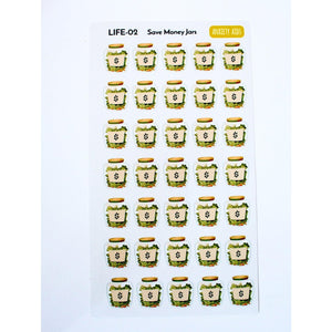 LIFE-02 Save Money Jars Planner Stickers - Anxiety Aids