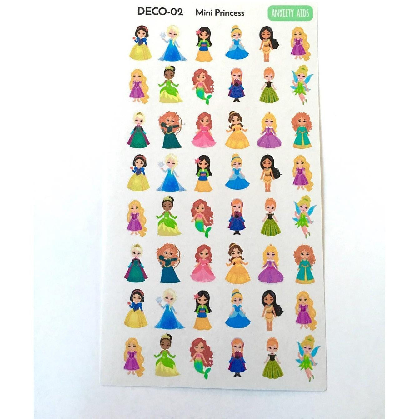 DECO-02 Mini Princess Planner Stickers  Anxiety Aids Anxiety Aids