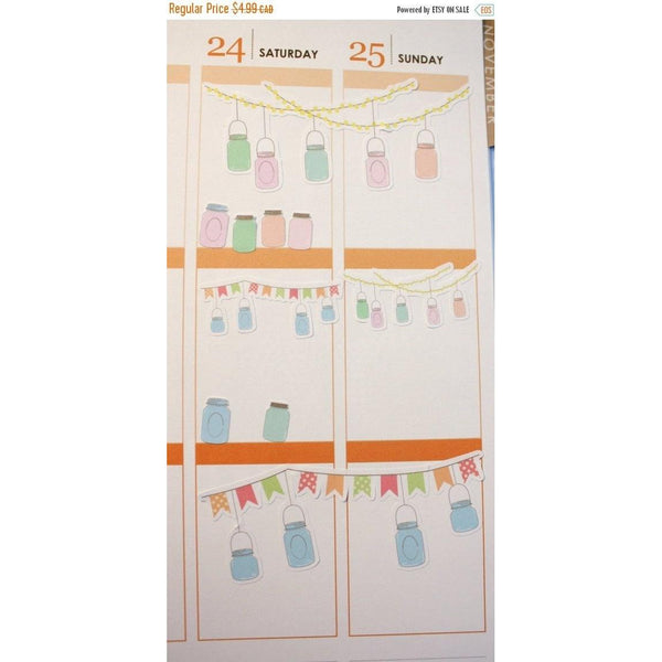DECO-15 Mason Jar Bunting Banner planner stickers - Anxiety Aids - 2