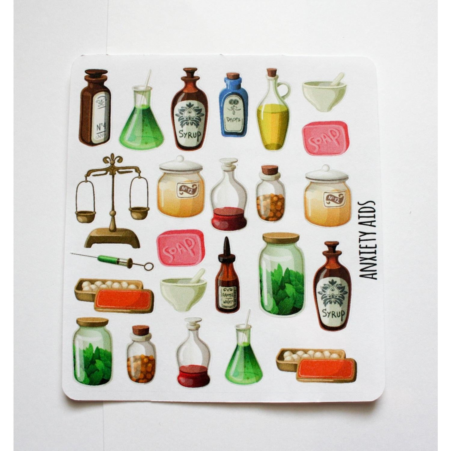 DECO-06 Rustic Apothecary Planner decorating stickers - Anxiety Aids - 1