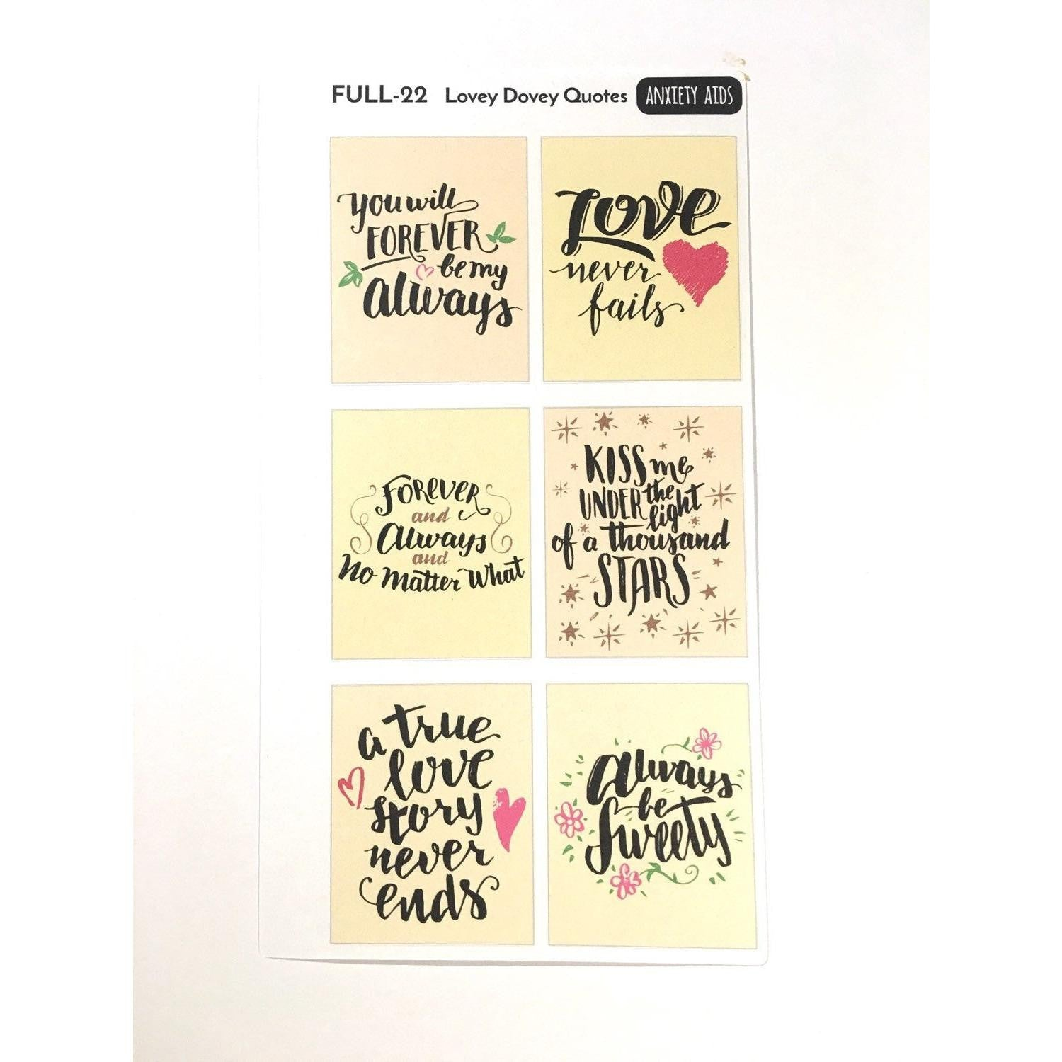 FULL-21 lovey dovey quote boxes planner stickers full boxes  Anxiety Aids Anxiety Aids