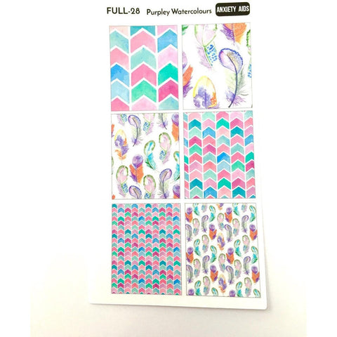 FULL-28 purpley watercolors full box planner stickers - Anxiety Aids