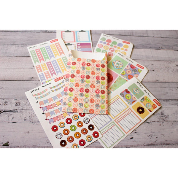 SET-02 Donut Party planner sticker decorating kit with sticker pocket  Anxiety Aids Anxiety Aids