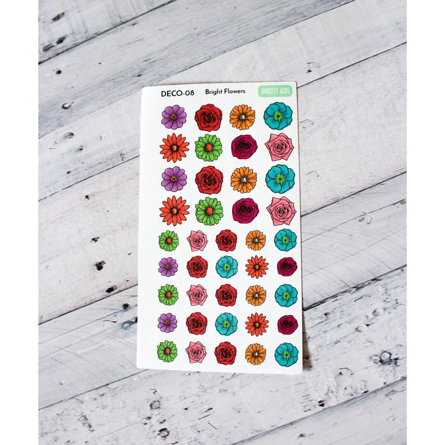 DECO-08 Bright flower Planner Stickers - Anxiety Aids